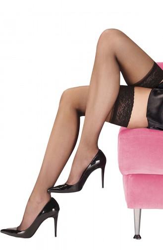 Jartiyer Çorap Siyah Düz Silikonlu Dantelli