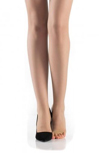 Mite Love Külotlu Çorap Şeffaf Burnu Açık Sahra Rengi