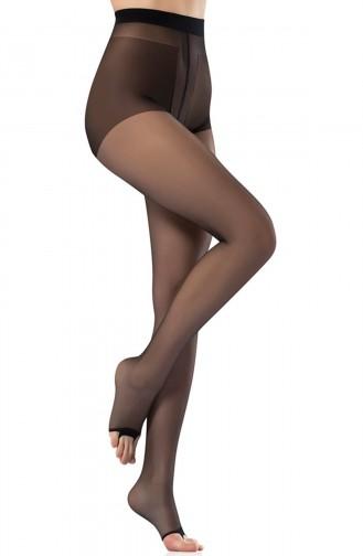 Mite Love Külotlu Çorap Şeffaf Burnu Açık Siyah Renk