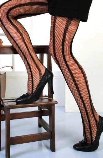 Mite Love File Külotlu Çorap Açelya Siyah Ten