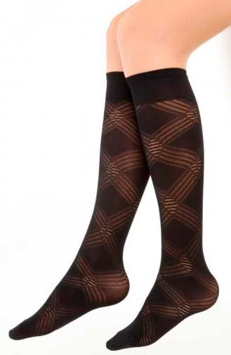 Mite Love Mikro Dizaltı Çorap Ada Desen Siyah