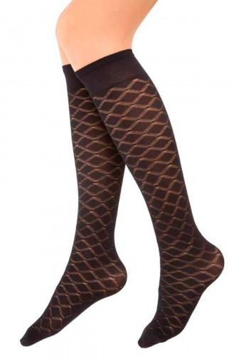 Mite Love Mikro Dizaltı Çorap Zümrüt Desen Siyah