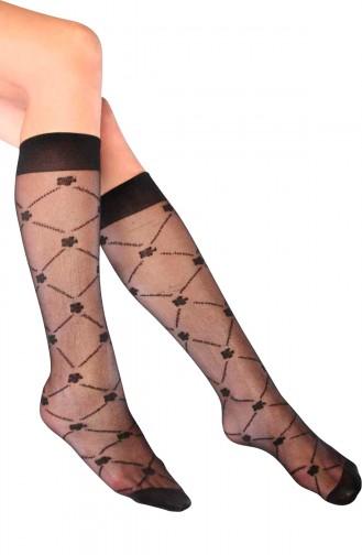 Mite Love Sümbül Desenli Dizaltı Kadın Çorap Siyah
