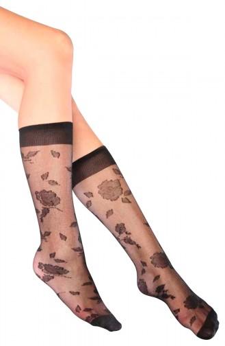 Mite Love Garden Desenli Dizaltı Kadın Çorap Siyah