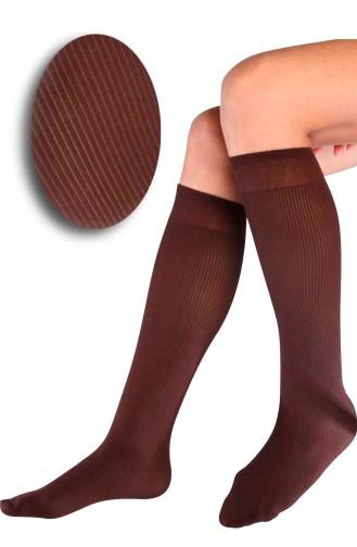 Mite Love Fitilli Diz Altı Kahverengi Çorap