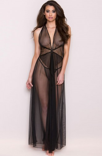 Mite Love Fantazi Giyim Uzun Transparan Gecelik Takım