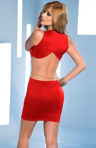 Mite Love Seksi Dekolteli Fantazi Elbise Kırmızı