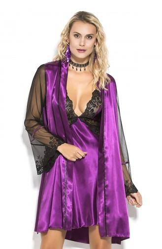 Mite Love Kadın Giyim Saten Gecelik Mor