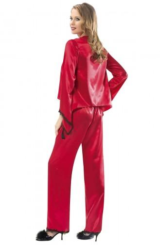 Mite Love Kadın Gecelik Kırmızı Saten Takım