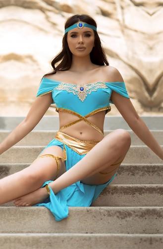 Mite Love Seksi Aksesuarlı Hint Dansöz Kostümü Mavi