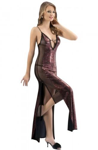 Mite Love Mikro Uzun Gecelik Bordo Kadın Giyim