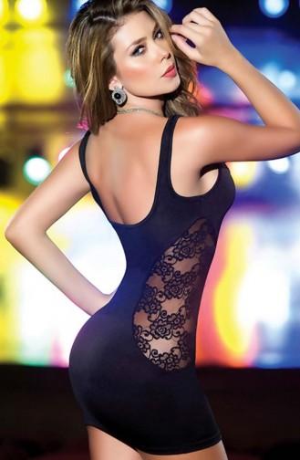 Mite Love Mikro Dantelli Fantazi Elbise Siyah