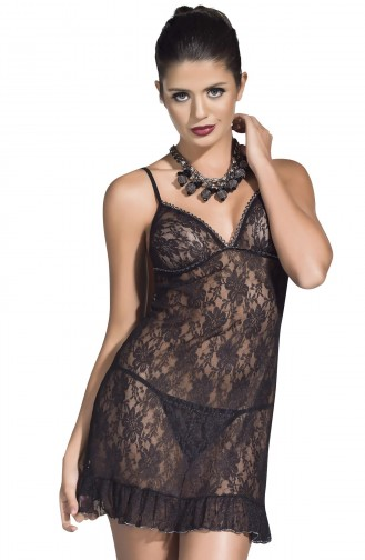 Mite Love Siyah Transparan Gecelik Fantazi Giyim