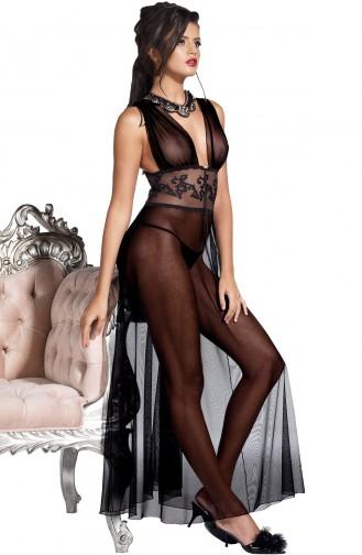 Mite Love Siyah Tül Uzun Gecelik Fantazi Giyim