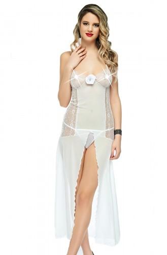 Mite Love Fantazi Giyim Uzun Beyaz Tül Gecelik