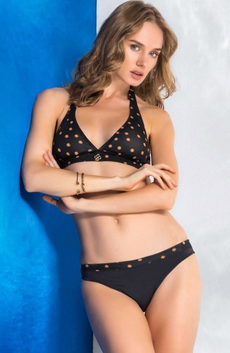 Mite Love Seksi Tasarım Puantiyeli Siyah Bikini Licia