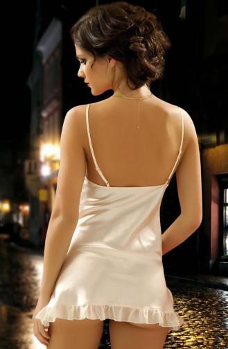 Mite Love Saten Gecelik Ekru Fantazi Giyim Hera