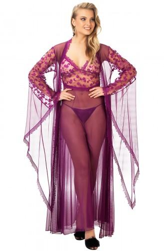 Mite Love Fransız Dantelli Kadın Gecelik Fantazi Giyim Mor