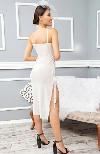 Mite Love Uzun Beyaz Seksi Gecelik Fantazi Kadın Giyim