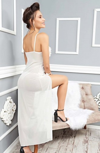 Mite Love Beyaz Dantelli Uzun Gecelik Fantazi Giyim