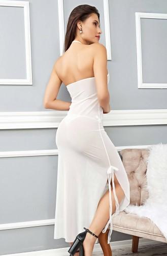 Mite Love Beyaz Gecelik Transparan Fantazi Giyim