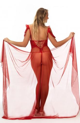 Mite Love Kırmızı Tül Dantelli Gecelik Takım Seksi Giyim