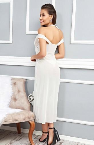 Mite Love Beyaz Gecelik Tül Dantel Uzun Fantazi Giyim