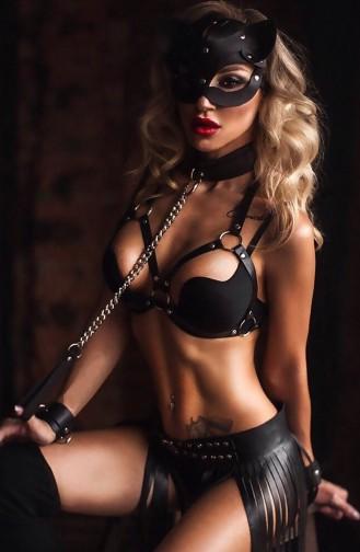 Mite Love Pusy Cad Maskeli Siyah Deri Kadın Kostüm