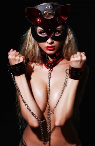 Mite Love Deri Kedi Kız Fantazi Set Maske Kelpçe ve Tasma