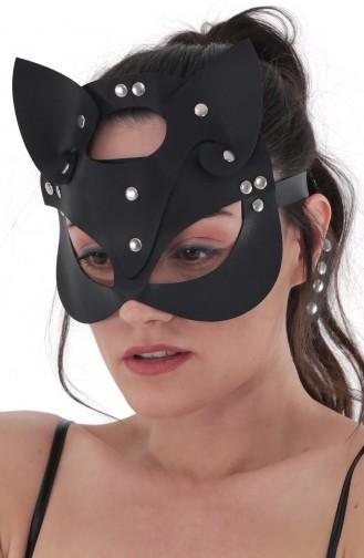 Mite Love Siyah Deri Kedi Kız Fantazi Maske