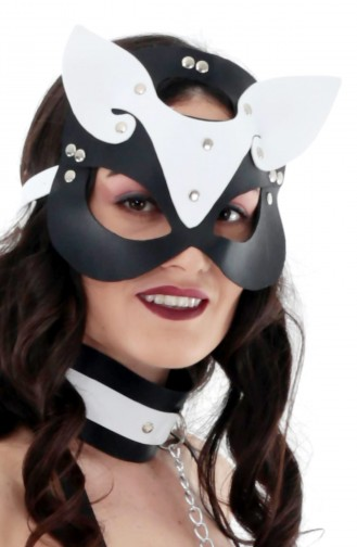 Mite Love Siyah Beyaz Deri Fantazi Maske Pusy Cat
