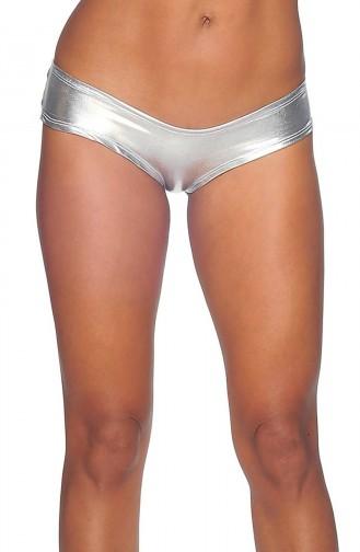 Mite Love Fantazi iç Giyim Deri Külot Metalik Gümüş