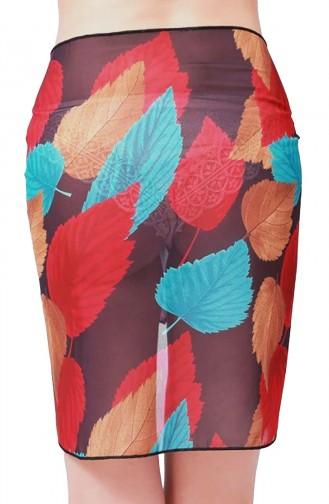 Mite Love Plaj Giyim Tül Pareo Yaprak Desenli