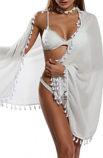 Mite Love Püsküllü Beyaz Pareo Plaj Giyim