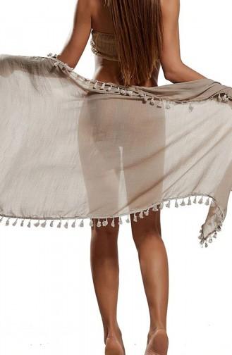 Mite Love Püsküllü Kahverengi Pareo Plaj Giyim