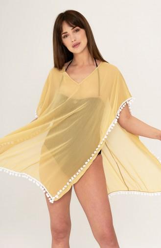 Mite Love Sarı Pareo Seksi Plaj Elbisesi Ponponlu