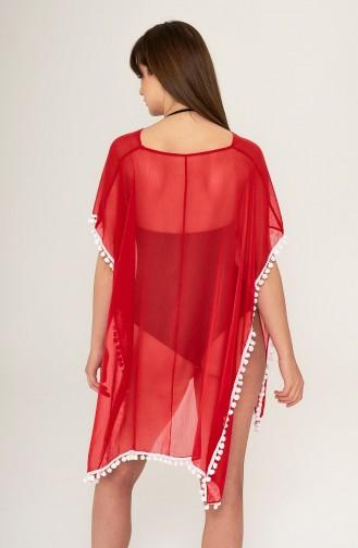 Mite Love Kırmızı Pareo Ponponlu Plaj Elbisesi