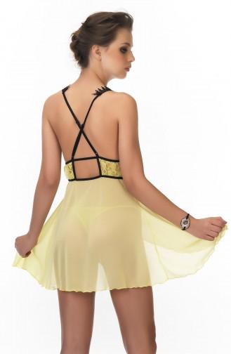 Mite Love Sarı Babydoll Dantelli Tül Gecelik Fantazi Giyim