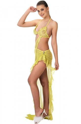 Mite Love Sarı Gecelik Transparan Seksi Kadın Giyim