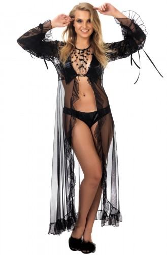 Mite Love Gecelik Siyah Deri Dantelli Transparan Giyim