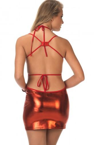 Mite Love Kırmızı Deri Elbise Dekolte Fantezi Giyim