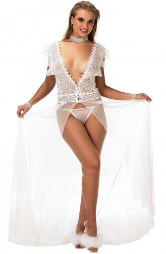 Mite Love Beyaz File Tül Gecelik Transparan Seksi Giyim