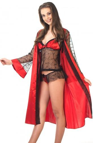Mite Love Kadın Gecelik Lez Dantelli Kırmızı Takım