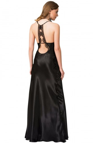 Mite Love Saten Kadın Gecelik Siyah Uzun Yırtmaçlı