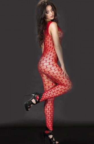 Mite Love Ağ File Kesim Kırmızı Vücut Çorabı Seksi Giyim