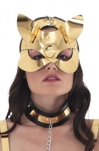 Mite Love Gold Deri Kedi Kadın Fantazi Maske
