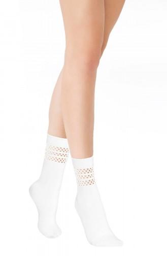 Mite Love Soket Çorap Düet File Beyaz