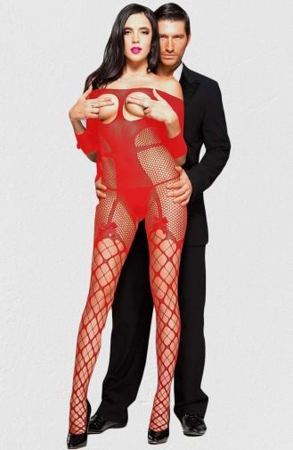 Mite Love Fantezi Özel Bölgeleri Açık Kırmızı Vücut Çorabı