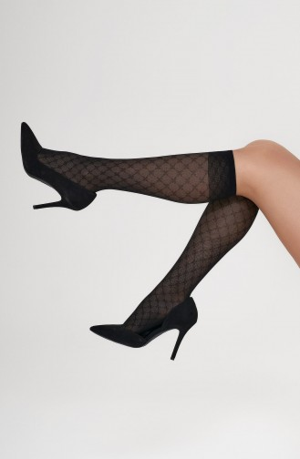 Mite Love Yonca Desenli Dizaltı Çorap Siyah