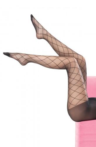 Mite Love Külotlu Çorap Baklava Çizgili Siyah
